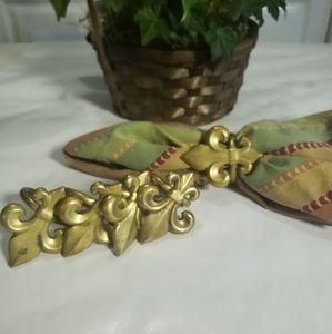 Vintage Fleur de Lis Napkin Rings Brass